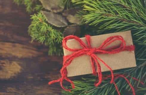 Close up view of a pine tree with a small gift wrapped in tan paper and red ribbon in the tree