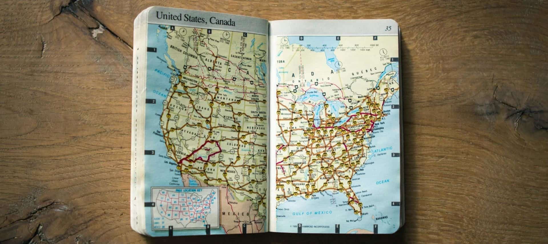 Small book with a map of the United States and part of Canada