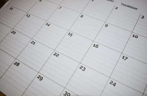 Close up view of desktop calendar